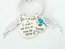 Key Ring  Purse Charm I used to be his angel now he is mine Custom Birthstone