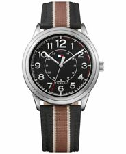 Tommy Hilfiger Men's Black Brown Striped Fabric Band Watch 1791330