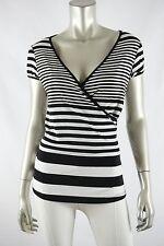 MOA MOA Black/White V-neck Stretch Knit Back Tie Knit Top LARGE