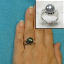 14k White Solid Gold; 10.7mm Genuine Black Tahitian Pearl Solitaire Ring TPJ