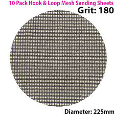 10x 180 Grit Silicon Carbide Mesh 225mm Round Sanding Discs –Hook & Loop Backing