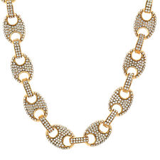 """Men's 14k Gold Plated 12mm 18"""" CZ Round Byzantine Chain Heavy Hip Hop Style Link"""