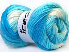 Lot of 4 x 100gr Skeins Ice Yarns MAGIC BABY Wool Blue Shades White