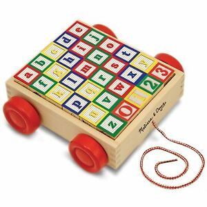 Melissa and Doug Wooden Learning ABC/123 Block Cart For Age 2 Plus kids