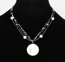 New Necklace with Black & Gray Beads & Semi Precious Stone Pendant nwt #N2683