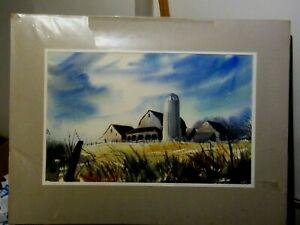 Original Watercolour of a Mid- West Farm U.S.A. by Nicolette Atwood (Freston)