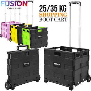 Folding Boot Cart Shopping Trolley Storage Box Foldable Wheels Create Fold Up