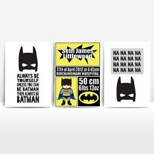 Set of 3 Kids Superhero Batman Birth Print Kids Boys Room Decor Print