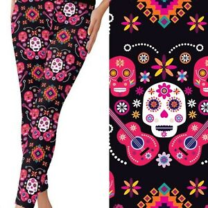 Coco Inspired Sugar Skull Guitar Women's Leggings TC2 Extra Plus Size 20-26