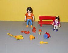 Playmobil Figure Rosey Cheeks Mom in Jeans w/ Purple Shirt Little Girl & Bench