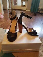 Zapatos de Tacón Bloque de Oficina de Cuero Negro talla 3