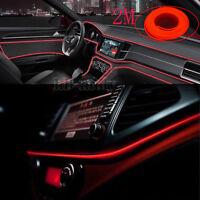 Cold El Decor Interior Wire Red Strip Neon Car Light Atmosphere Unique 2M Lamp