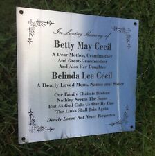 Grave Marker Plaque Laser Engraved Stainless Steel mounting holes 200 x 200 mm