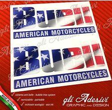 2 Adesivi Resinati Sticker 3D BUELL Serbatoio USA Flag e Fascia 3D