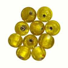 Redondo 10 mm Plata Forrado Perlas De Vidrio Transparente Amarillo Pack de 10 (P14/1)