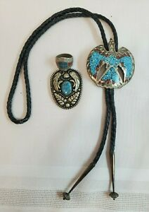 VTG Native American Eagle Turquoise & Coral Bolo & Ring & Alpaca Mexico Bolo
