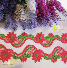 1 M Pink & Green Embroidered Venise Lace Trim Gorgeous Approx 4.5 cm wide