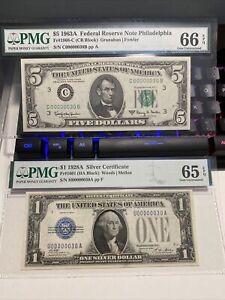 1928A&1963A $1&5《Funny Back Binary Match Number 00000030》65&66EPQ UNC Super Rare