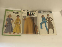 Vintage 1977 Sewing Patterns  Lot of 3 Women's Retro