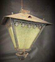 Ancienne lanterne de ville ART NOUVEAU - verre et fer décors fleurs de Lys