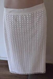 Liz Jordan Midi Skirt White Elegant Size 14 Fully lined with Overlay Pre-Owned