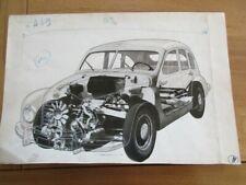 RARE DESSIN ORIGINAL HOTCHKISS GREGOIRE GAUTIER COLLAGE L' AUTOMOBILE  1948