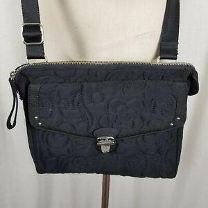 Vera Bradley Black Quilted Flap Hipster Crossbody Shoulder Handbag Bag Purse