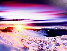 Leuchtbild Schnee 40*30 cm mit Led Leuchten Canvas Sonnenuntergang Wanddeko neu