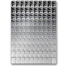 100 gram (100 x 1 gram) Valcambi Silver CombiBar in Assay Card