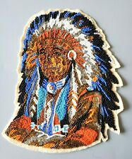Finest Handmade Beaded Canvas American Indian Portrait Patch - Needlepoint Art