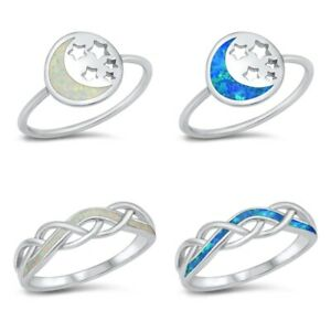 NEW!Sterling Silver 925 CRISS CROSS, MOON & STAR DESIGN LAB OPAL RINGS 4-10 *
