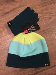 NWT~Boys Youth Size 8-20 Under Armour Beanie Hat & Glove Set~Teal, Green Yellow