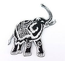 Embroidered Iron On Patch Elephant White Black Fabric Accessories Craft DIY