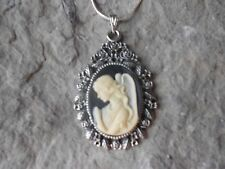 ANGEL PRAYING WITH WINGS CAMEO NECKLACE - RELIGIOUS - CHRISTMAS - GOD