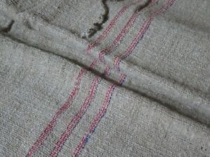 Antique European Feed Sack GRAIN SACK Red & Blue Stripe # 10023