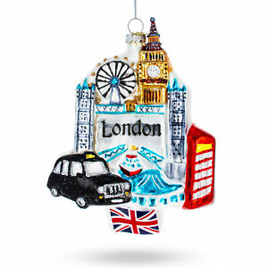 London Attractions, United Kingdom Glass Christmas Ornament