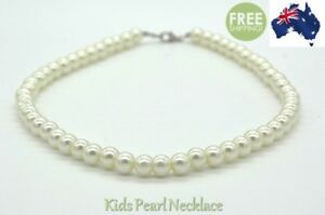 Kids Pearl Necklace Baby Girl Princess Costume Jewellery Formal Beads Party