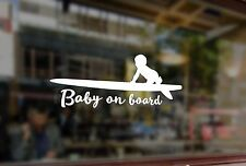 25cm Baby on board surfboard in car Vinyl Stickers Decals Car Auto Glass