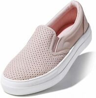 DailyShoes Women's Flat Memory Foam Slip On, Platform Mauve Pu, Size 5.5 yunq