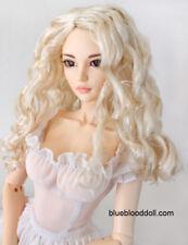 "1/4 bjd 7-8"" doll head blonde curly wig dollfie Luts Iplehouse Smart JD285SM202M"