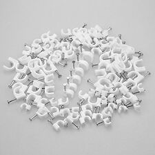 100/pk White Nail in Ethernet Cable Nails Clips Cable Wires Organizer Assorted