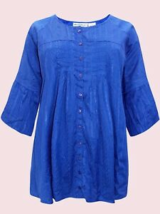 BLUE-SAPPHIRE Embroidered Bell Sleeve Blouse/tunic UK SIZES UK 18 to 28