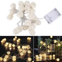 2M 20 LED Ball Lichterkette Warmweiss Batterie Außen Innen Garten Weihnachtsdeko