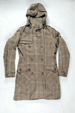 Women's Helly Hansen Plaid Long Quilted Winter Trench Coat Jacket Medium