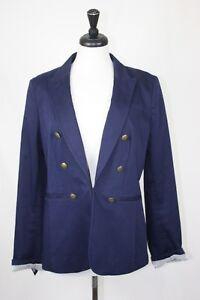 Banana Republic Women's Blazer Navy Gold Button Jacket Career Size 6P 6 Petite