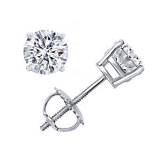 2.00 CT ROUND BRILLIANT CUT CERTIFIED SCREWBACK STUD EARRINGS 10K WHITE GOLD