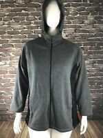 New Ideology Women's Plus Sz 1X Gray Black Full Zip Hooded Jacket Pockets NWT