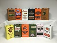 Classic  Vintage Display Metal Oil Can with Logo Lid, 12 stunning designs