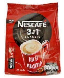 NESTLE NESCAFE Classic 3 in1 Instant Coffee Sachets Full Box 20 x 16.5g 0.6 EU