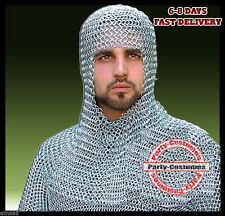 Aluminum Chainmail Coif Round neck Chain mail Hood Medieval Armour Hood new